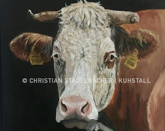 Cow 17.1   Art print   Painting by C. Stadelbacher   Artists' Gallery   back certificate with signature