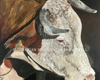 Cow 17.5   Art print   Painting by C. Stadelbacher   Artists' Gallery   back certificate with signature