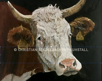 Cow 17.2   Art print   Painting by C. Stadelbacher   Artists' Gallery   back certificate with signature