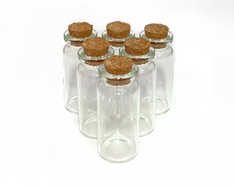 Glass Bottles with Corks, 10mL Clear Empty Jars with Cork Stopper Lids, Vials for Herbs and Spell Jars, Choose your Quantity
