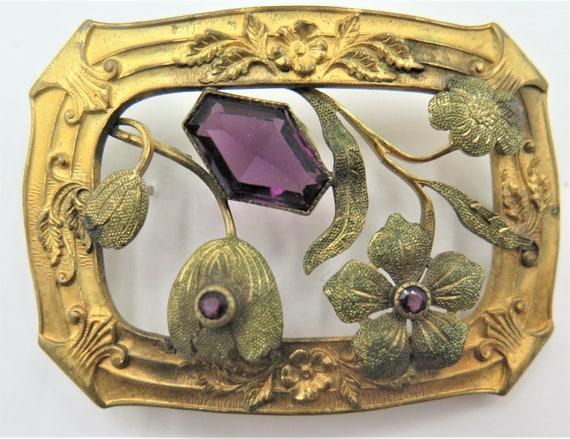 Antique Edwardian Amethyst Flower Sash Brooch
