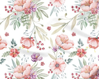 Pink Floral Chevron Design Fabric,Ceramic fabrics,by the meters fabric,digital printed fabric