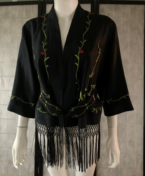 Embroidered Floral Silk Jacket with Long Fringe an