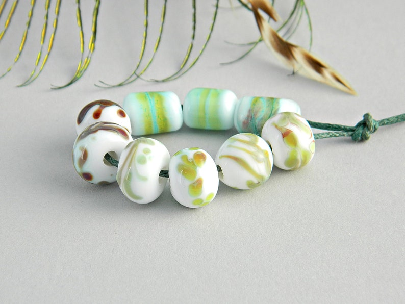 Murano beads Floral Lampwork beads Ancient Roman style Handmade Lampwork beads Rustic handmade glass beads White Green Artisan glass beads