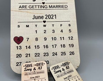 Save the Date Wedding Plaque Magnet Keychain Planning Invitations Laser Cut Wood
