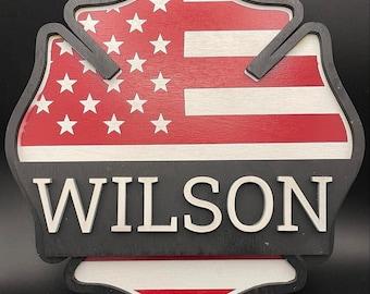 Firefighter Name Sign/Wooden Maltese Cross Sign/Personalized Maltese Sign/Firefighter Name Sign/Personalized Name Sign/Fire Department Decor