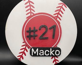 Baseball Name Sign/Custom Name Sign/Wood Name Sign/Baseball Jersey/Laser Cut Sign/Custom Name Plate/Jersey Number/Little League/Kids Name