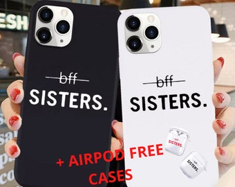 Best Friends Forever sister matching  clear  soft silicone earphone case for AirPods 1,2 and Pro