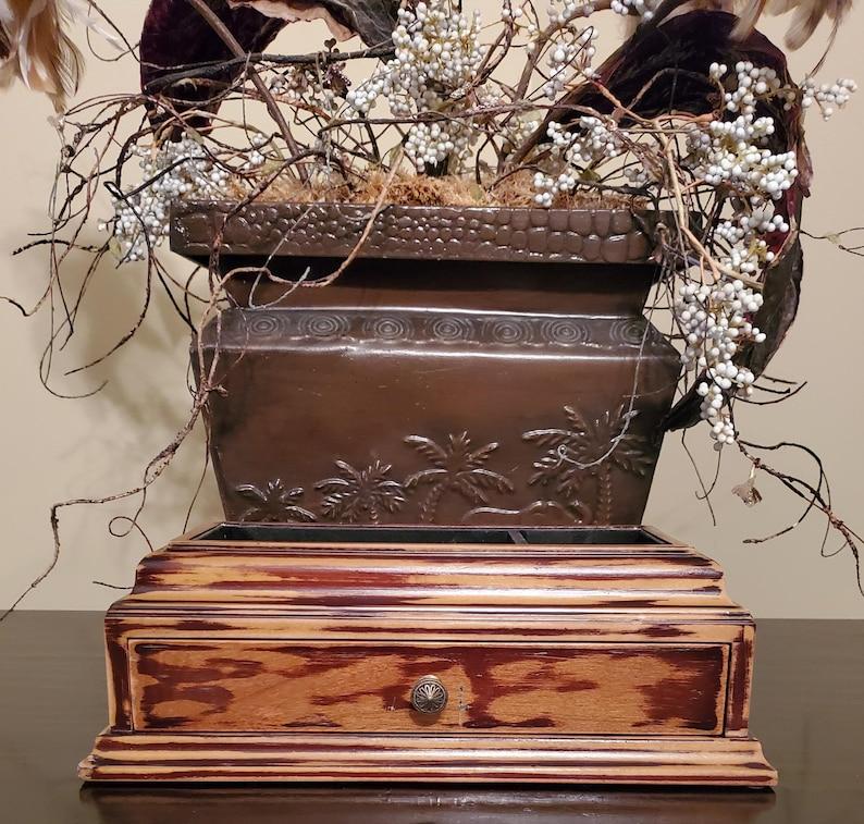 Valet Tray With Drawer Wood Valet Tray Desk Organizer Dresser Caddy Men/'s Gift Mens Jewelry Box Valet Tray Cufflink Storage Vintage Wooden