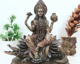"Ganga Statue, 8"" Goddess Ganga Statue, Holy River Ganga, Goddess Parvati Sister Idol, Pure Water Source, Divine Mother, Mother Ganga Statue"