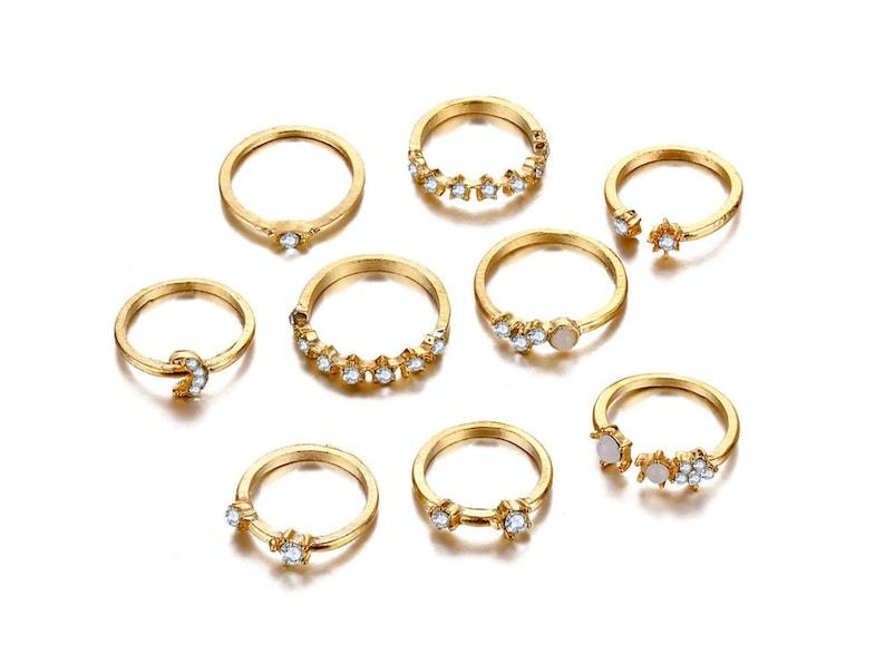 Boho Rings Set 9 of Zodiac Rings Zircon Rings Moon Rings Star Rings,Ring Set,Gift for Her,Astrology Constellation Ring Star Sign Rings