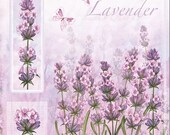 4 x Lavender Flowers Decoupage Paper Napkins, Luncheon Serviette Butterfly and Lavender 0295