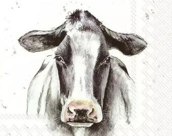 4 x Farmfriends Cow Paper napkin serviette for decoupage scrapbooking, papercraft, Multimedia #0040