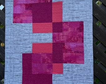 PINK TRANSPARENCY. An Original Modern Wall Quilt. Luscious Magenta, Pinks and Coral with a Midcentury Black and White Print.