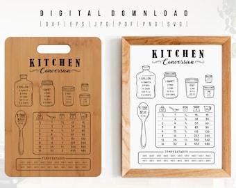 Kitchen Conversions svg. Kitchen Measurements Conversion Chart svg. Kitchen Decor svg. Kitchen Guide Sheet. Kitchen Measure Cut File Cricut