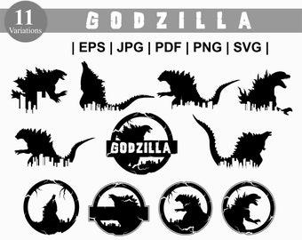 Godzilla SVG. Godzilla Bundle SVG. Godzilla Cityscape. Godzilla Monster SVG. Godzilla Badge. Godzilla Png Dxf  Silhouette Cricut - Cut File