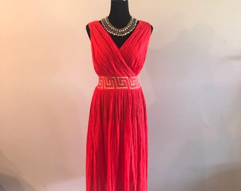 Grecian style dress, red dress for women, red cotton dress, vintage gift for her