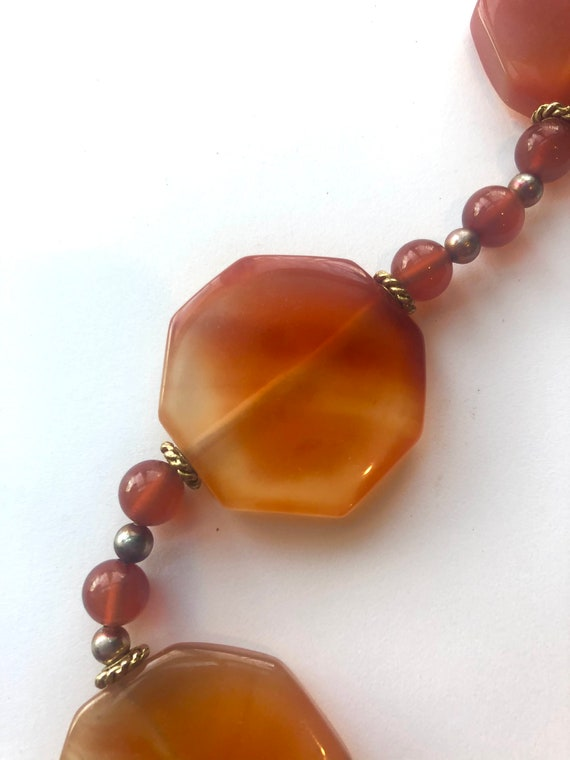 18 Boho Orange Carnelian Bead and Pendant Vintage Necklace