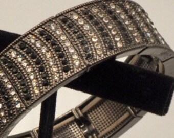 Marcasite stretch bracelet, Vintage marcasite, jet, and rhinestone stretch bracelet