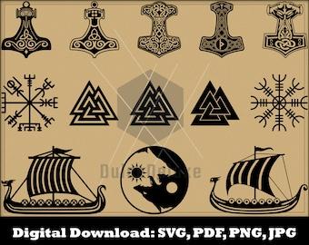 Viking Symbols SVG Bundle - Mjolnir Vegvisir Valknut Aegishjalmur Helm of Awe Viking Ship Viking Clipart - Vector Instant Download Glowforge