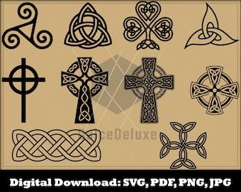 Celtic Symbols SVG - Celtic Silhouette - Celtic Clipart- Celtic Vector Instant Download cross knot triskele triquetra St Patrick's Day