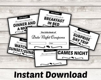 Printable Date Night Coupons - Valentines Day Gift for Her - Birthday Gift Anniversary Gift Boyfriend Girlfriend Husband Wife Spouse Instant