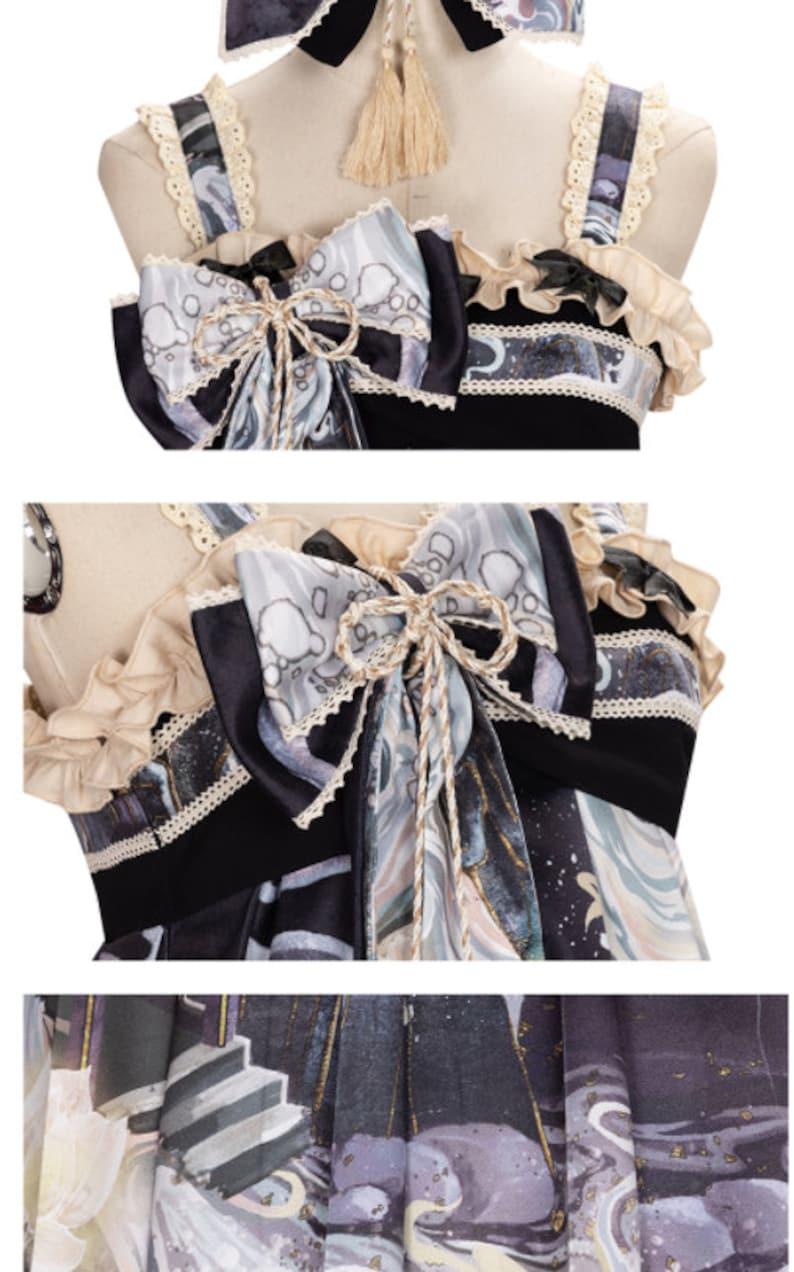 Vintage Black Qi Lolita JSK Dress with Hair Clip Cape optional