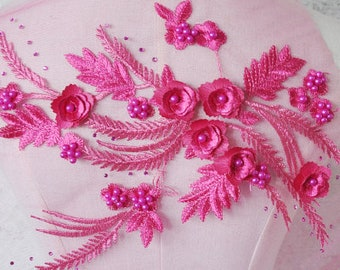 3D-Stereo Bead Hot Drilling Embroidery Lace Peony Flower Lace Performance Clothing Decoration DIY Wedding Accessories Floral Embroidery