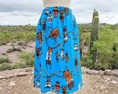 Southwestern Cotton Skirt KACHINA Doll Native American Medicine Bag Print Print Western Prairie Women ONE SIZE S M L Small Medium Large