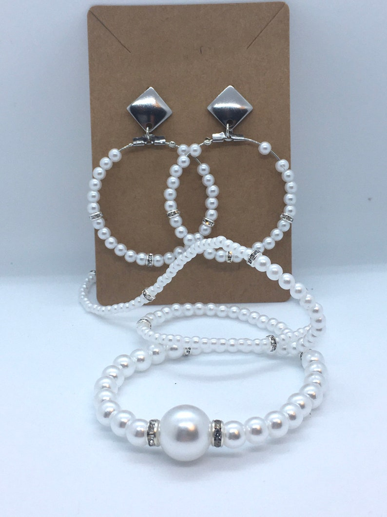 Pearl hoops and necklace set