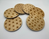 Wooden Coaster   Impossible Shapes Pattern   Set of 4 or 6