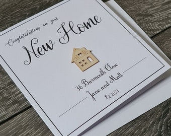 New Home! Handcrafted and unique Greeting's Card! Personalised New Home Card Wooden Card!
