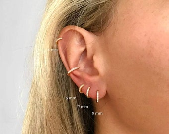 Tiny CZ Hoops 6mm 7mm 8mm Gold & Silver~ Crystal Tiny Huggie Cuff Hoop Stud Earrings ~Cartilage, Lobe, Helix, Rook, Tragus