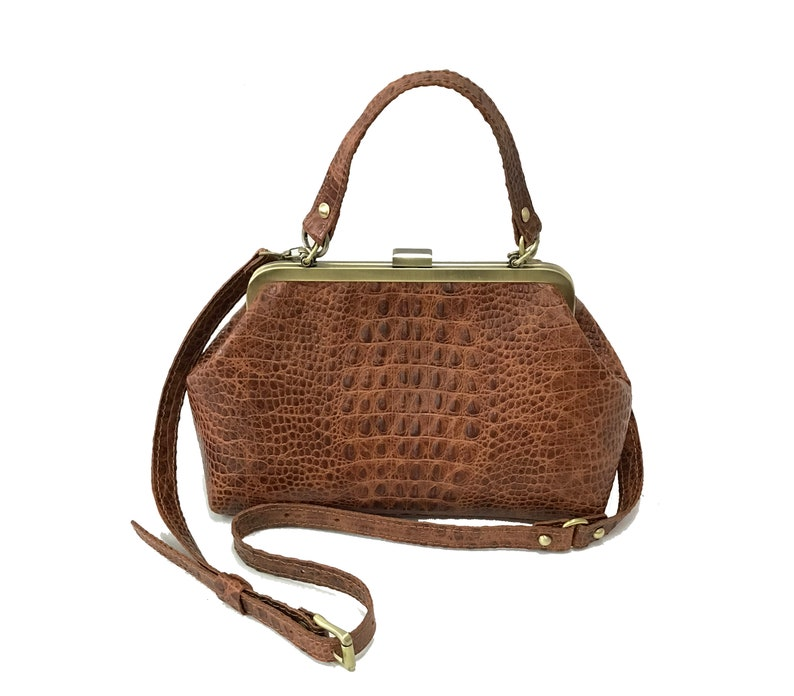 Edwardian Gloves, Handbags, Hair Combs, Wigs Vintage women bag genuine leather bag with top frame Retro $189.00 AT vintagedancer.com