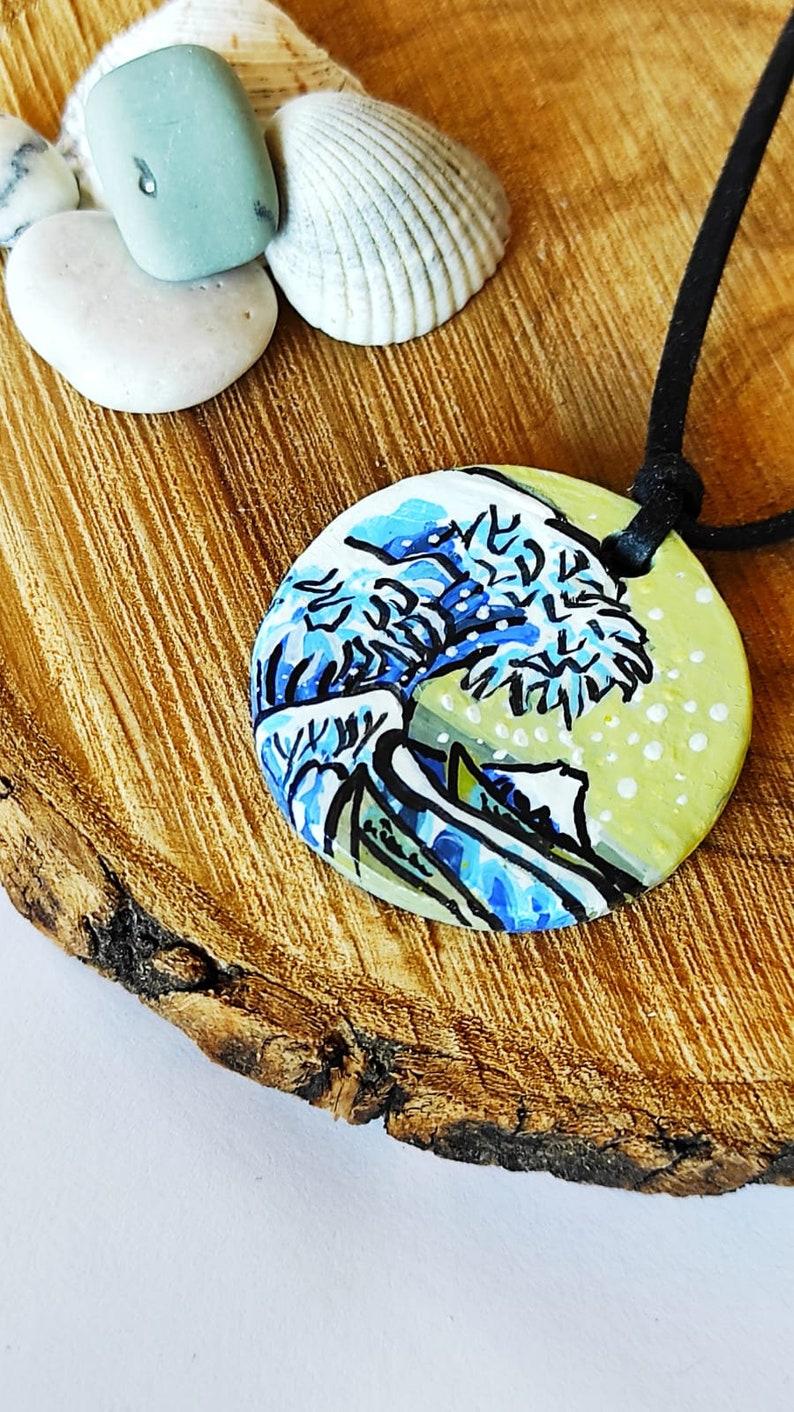 Ocean Resin Necklace \u2022 Wave Necklace \u2022 Ocean Necklace \u2022 Beach Necklace Jewelry \u2022 Beach Wedding Jewelry \u2022 Surfer Necklace \u2022 Minimal Wave