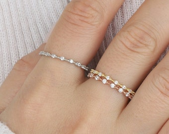 Thin 14K Gold Women Ring, Stackable Eternity Rings, Initial Wedding Solid Gold Women Rings, Dainty Engagement Ring, Gift For Her, Mom Gifts