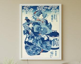 "Japanese Print - ""Ogiya uchi Hanaogi"" Japanese Art, Geisha Woodblock print - Home Decor Wall Art by Utagawa Kuniyoshi - HIGH QUALITY PRINT"