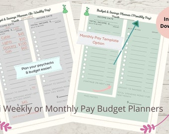 Bi-Weekly Pay Budget Planner, Financial Planner, Planner, Yearly Financial Planner, Printable Planner, Printable Budget Planner