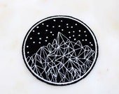 Starry Night Mountain iron on Patch, Geometric Landscape Patch, Mountain Camping Badge, Art Applique, Embroidered Applique,Gift