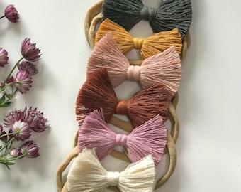 Macrame Baby Bow Headband - Macrame Hair Accessory, Macrame Headband, Knotted Bow, Boho Headband, Boho Accessories, Baby Gift, Toddler Gift