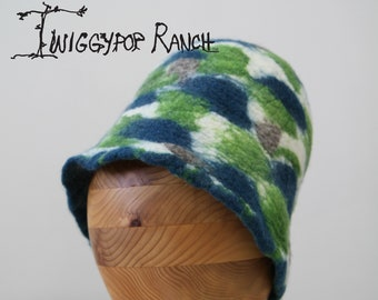 Hand felted wool extra tall bowler hat