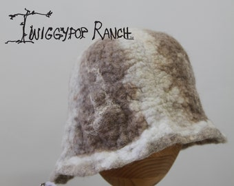 Cream and Brown hand felted wool hat