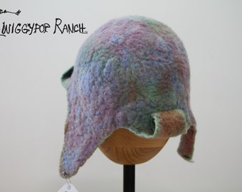 Hand felted wool hat made of a blend of pastel colors