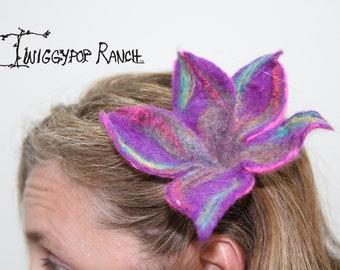 Hand felted wool flower hair clip