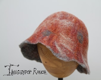 Wispy rose hand felted hat with grey polka dots