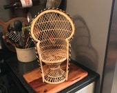 Vintage wicker peacock doll or plant chair boho style