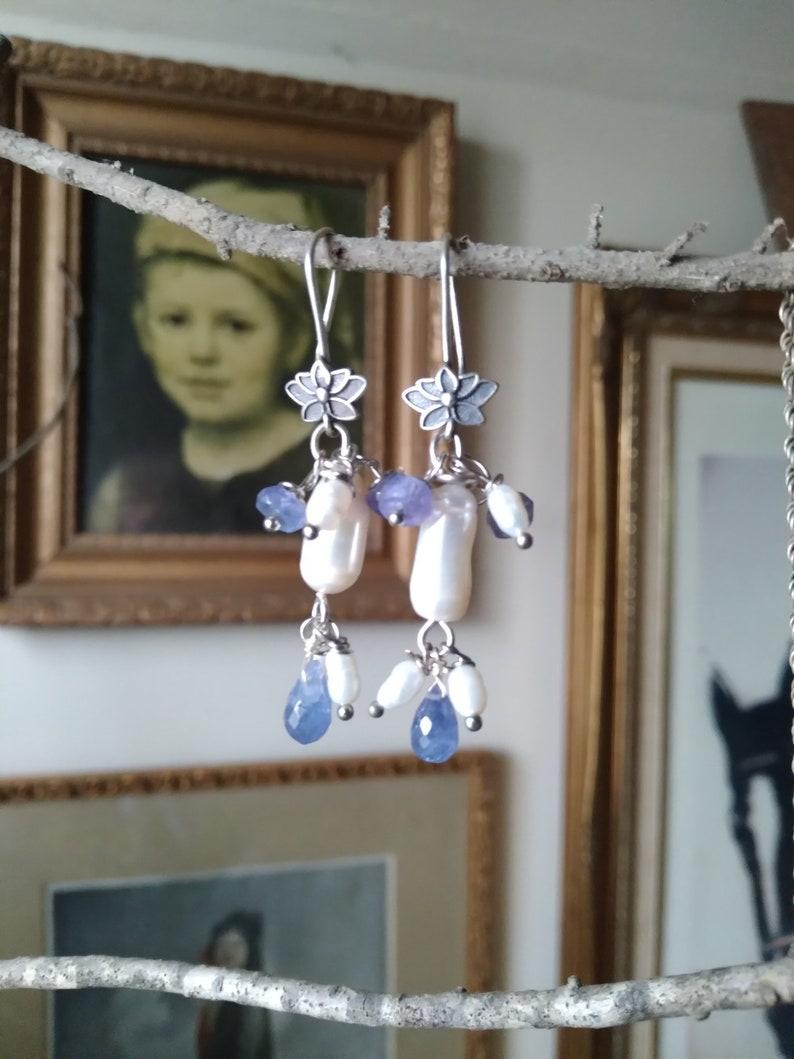 Water Lily Tanzanite /& Freshwater Pearls Sterling Silver Drop Dangle Earrings