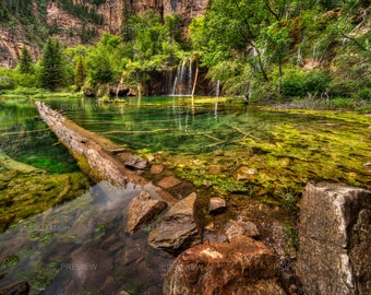 Digital Download Wall Art Photography. Colorado mountain lake art. Hanging Lake in Colorado, fallen tree. Scenic mountain lake. You print.