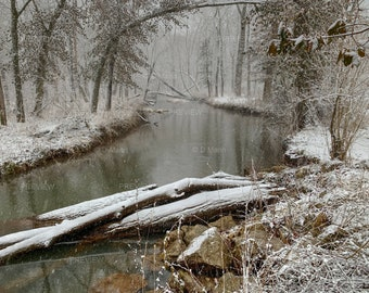Digital Download Wall Art Photography. Winter snow on a stream in a forest wilderness. You print.