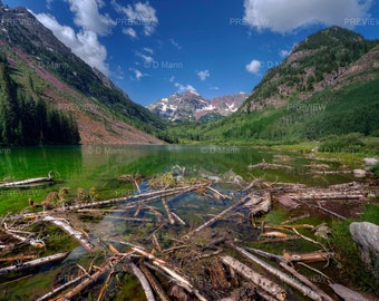 Digital Download Wall Art Photography. Maroon Bells Lake near Aspen, Colorado. Trees destroyed by recent avalanche in foreground. You print.